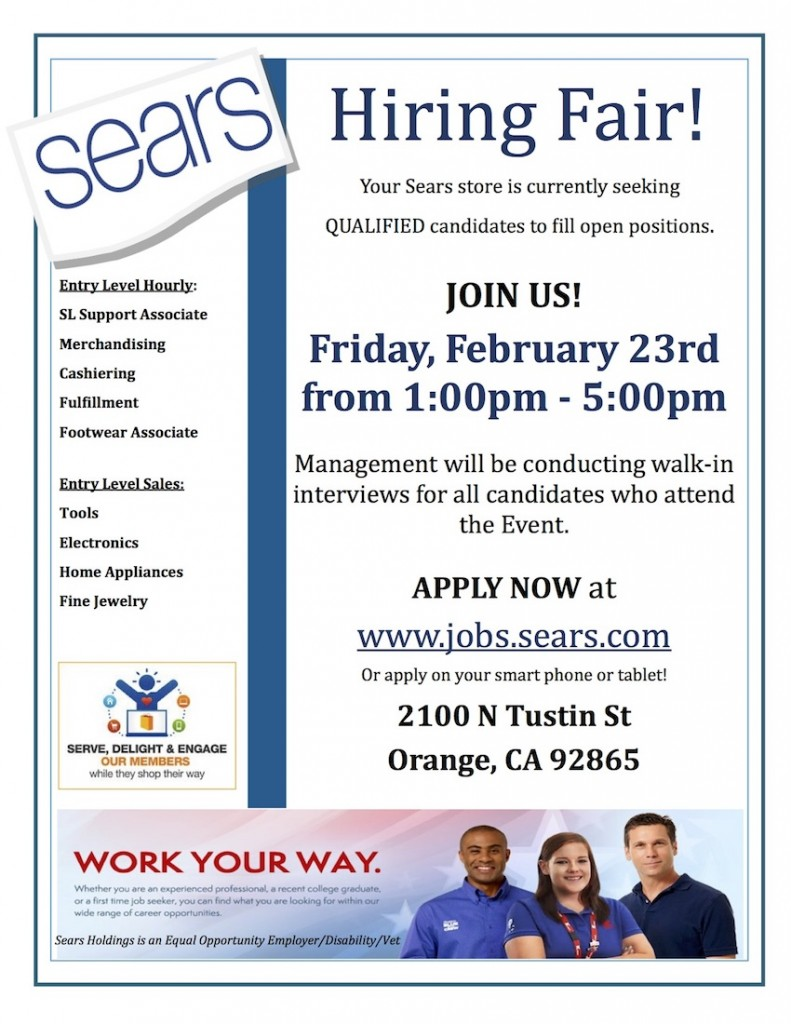 Sears Orange Hiring Fair 2.23