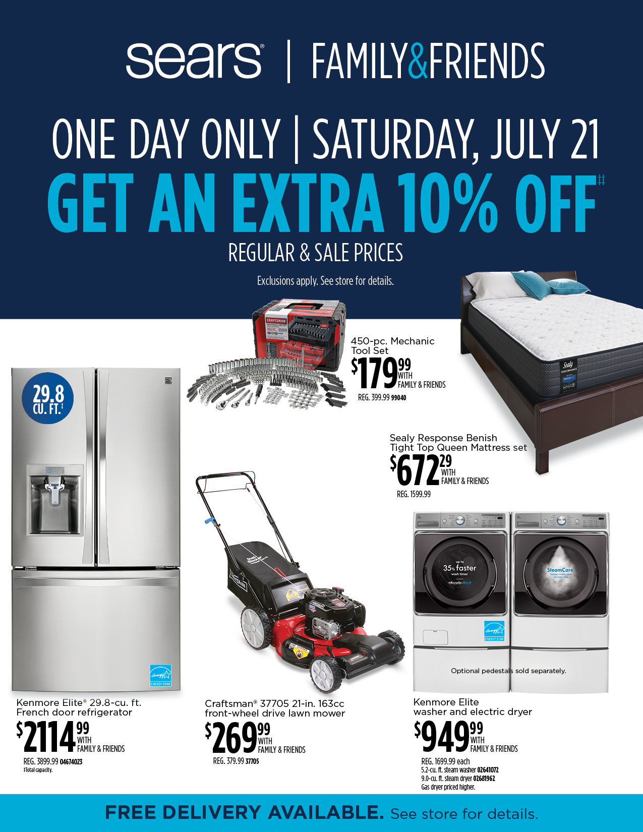 SEARS Family & Friends One Day Sale!