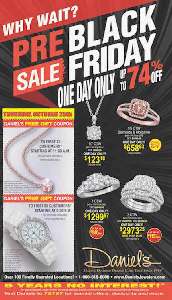 One Day Only Sale at Daniel's Jewelers