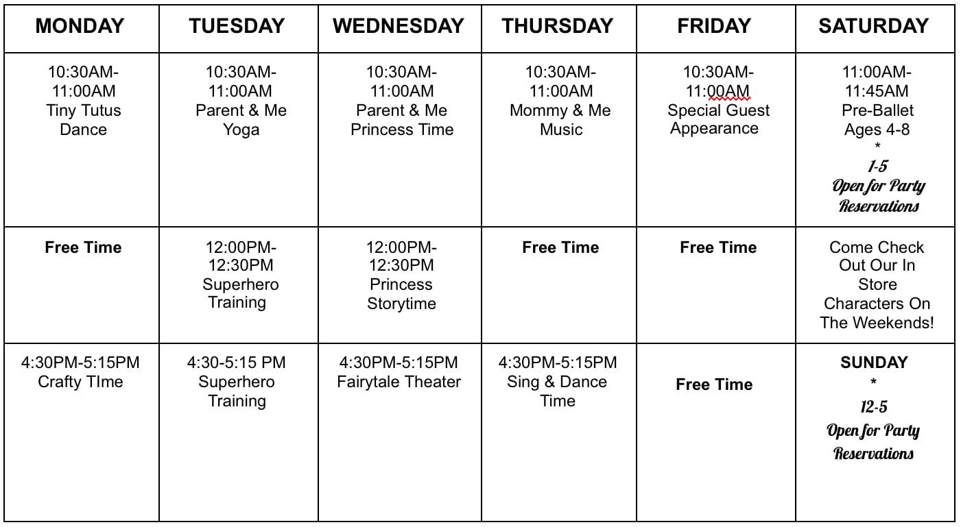 Play & Parties Class Schedule
